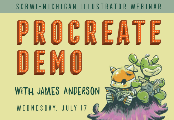 Wednesday, July 17, 2019 7:00 PM EST Presenter: James Anderson Fee: $12 for members, $15 for not yet members plus small online registration fee  * A link to the webinar (held on the Zoom online platform) will be emailed to registrants late afternoon on the day of the event using the address used to register. * Procreate is not required to view the webinar.  Click HERE to register.  This webinar is designed to elevate your knowledge of Procreate as another tool. James Anderson is the creator of the webcomic, Ellie On Planet X, as well as an illustrator. He's been a working graphic designer for over thirty years.  Procreate is a drawing/painting app for the iPad or iPhone which is similar to Photoshop. The aim of Procreate is to recreate the natural feel of physical drawing while utilizing the practical advantages of a digital platform. It offers over 130 realistic brushes, multiple layers, blend modes, masks, 4K resolution export of process videos, autosave, and many other classic and original digital art tools. Procreate is designed for multi-touch and the Apple Pencil. It also supports a number of third-party styluses, and import/export to Adobe Photoshop PSD format.  Jim will provide: A